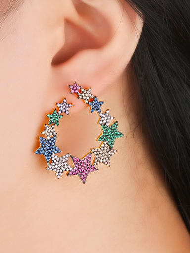 Copper With Cubic Zirconia Trendy Star Cluster Earrings