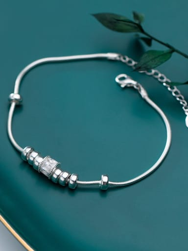 925 Sterling Silver With Platinum Plated Simplistic Transfer beads  Chain Bracelets