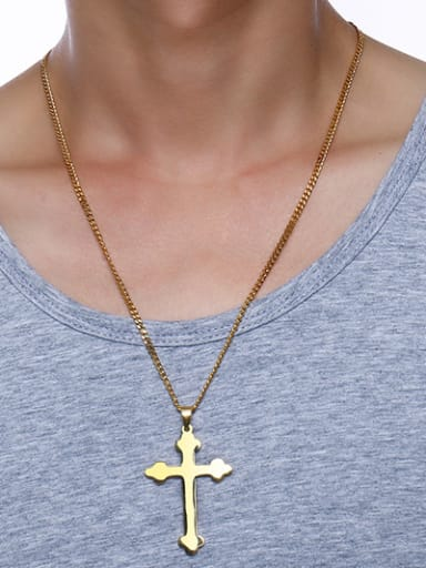 All-match Gold Plated Cross Shaped Titanium Pendant
