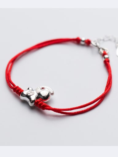 Sterling silver lovely horse hand-woven red thread bracelet