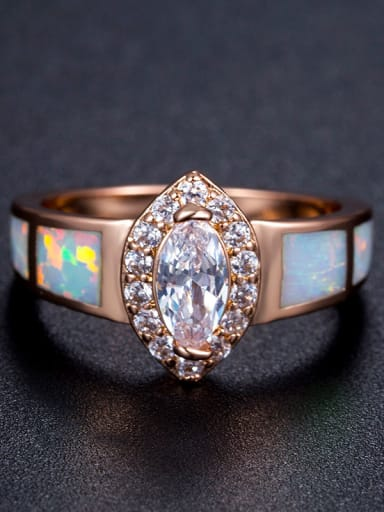 Colorful Opal Zircons Rose Gold Plated Women Ring
