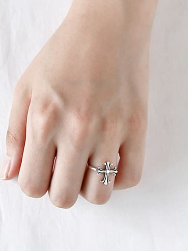925 Sterling Silver With Antique Silver Plated Personality Cross Free Size Rings