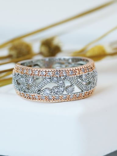 Copper With Cubic Zirconia Two-color plating Ring