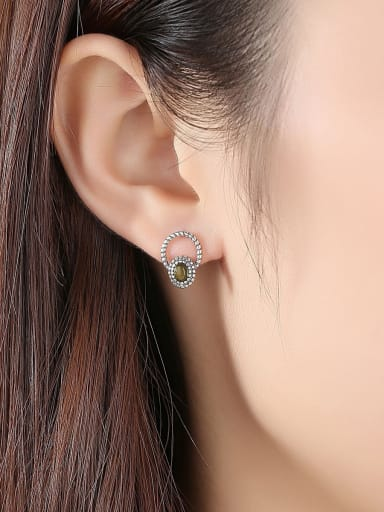 925 Sterling Silver With Antique Silver Plated Vintage Geometric Stud Earrings