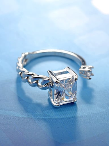 Simple square mirco-inlay zircons free size ring