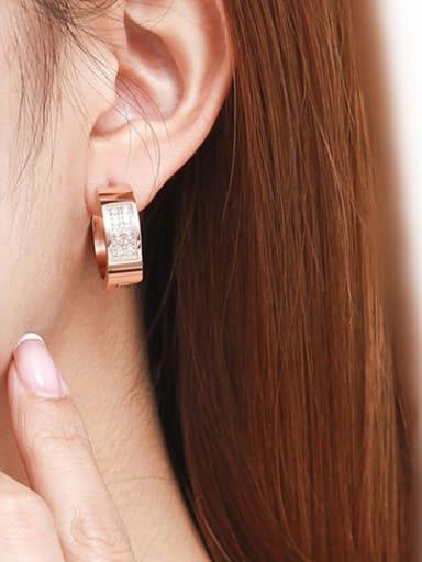 CNC  Anti-allergic Zircon Titanium Steel hoop earring