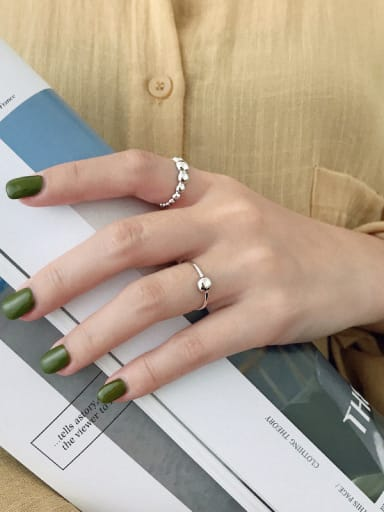 925 Sterling Silver With Smooth Beads Simplistic Semicircle Free Size Rings