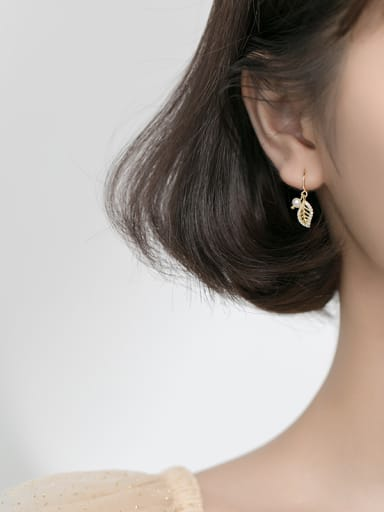 925 Sterling Silver With Gold Plated Personality Leaf Hook Earrings