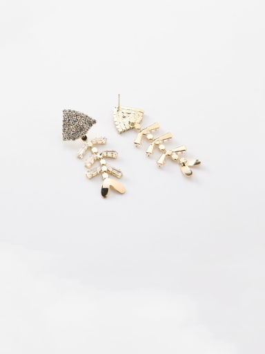 Alloy With Rose Gold Plated Simplistic Fish Bonesl Drop Earrings