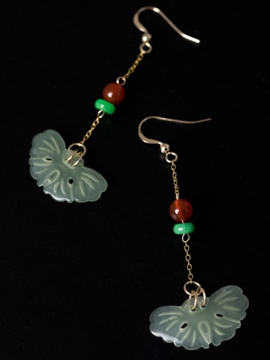 Retro style 925 Silver Natural Jade Red Stone Earrings