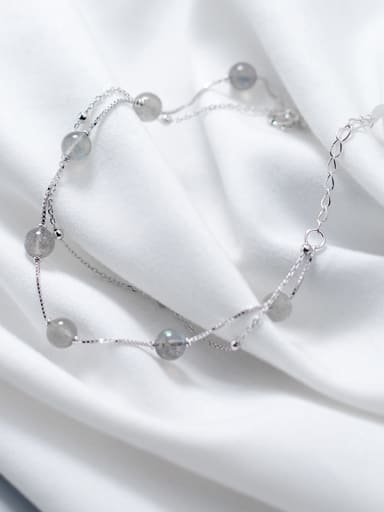 Double layer moonstone  Gradient gray  S925 silver bracelet