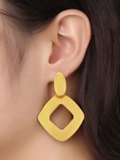 Trendy Geometric Shaped Matte Finished Titanium Drop Earrings