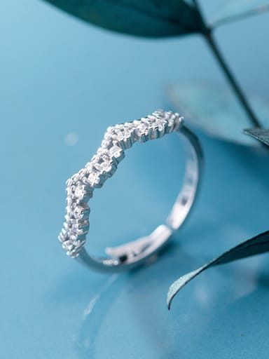 925 Sterling Silver With Platinum Plated Simplistic Lace edge free size Rings