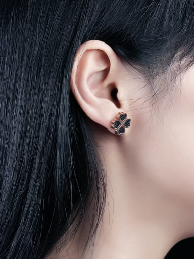 Fashion Black Four-leaf Clover Rose Gold Plated Stud Earrings