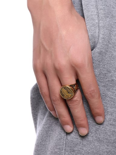 Personality Gold Plated High Polished Palm Titanium Ring