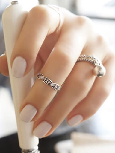925 Sterling Silver With Antique Silver Plated Vintage Irregular Rings