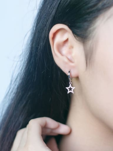 S925 silver star zircon drop earring