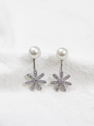 Artificial Pearl Cubic Rhinestones Flowery Silver Stud Earrings
