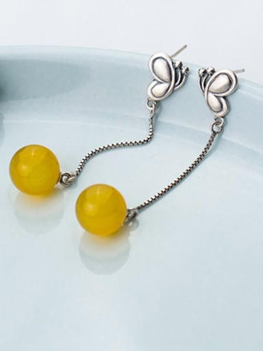 Ethnic Style Butterfly Shaped Yellow Stone Drop Earrings