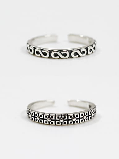 925 Sterling Silver With Antique Silver Plated Vintage Lines Rings