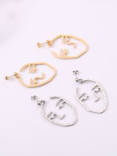 Titanium With Gold Plated Personality Abstract Face  Drop Earrings