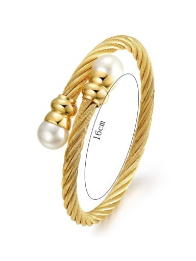 Elegant Open Design Gold Plated Pearl Titanium Bangle