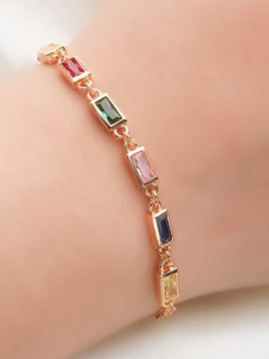 Copper With Glass Stone Trendy Square Bracelets