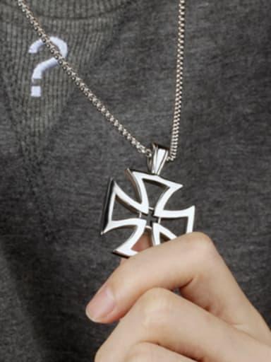 Simple Hollow Cross Titanium Men Necklace