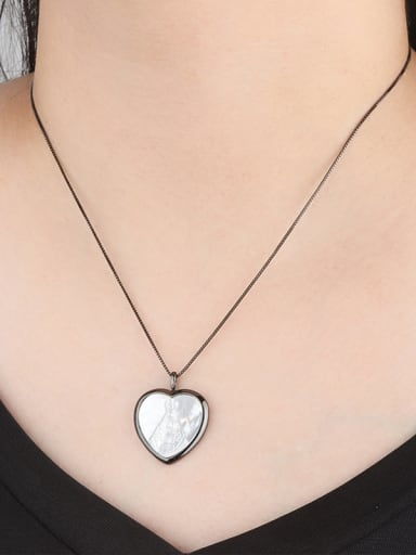 Copper With Shell Trendy Heart Locket Necklace