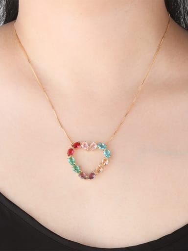 Copper With Glass stone Trendy Heart Necklaces
