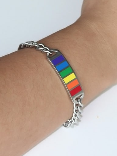Fashionable Multi-color Geometric Shaped Enamel Titanium Bracelet
