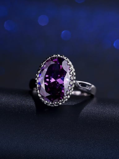 Big Oval Color Zircon Simple Engagement Ring