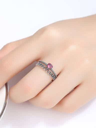 Thai Silver With Cubic Zirconia Vintage Heart Free Size  Rings