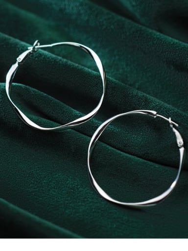 925 Sterling Silver  Fashion Wave Round Hoop Earrings