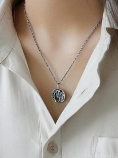 925 Sterling Silver With Black Gun Plated Vintage English Portrait Coin Double Tag Necklaces