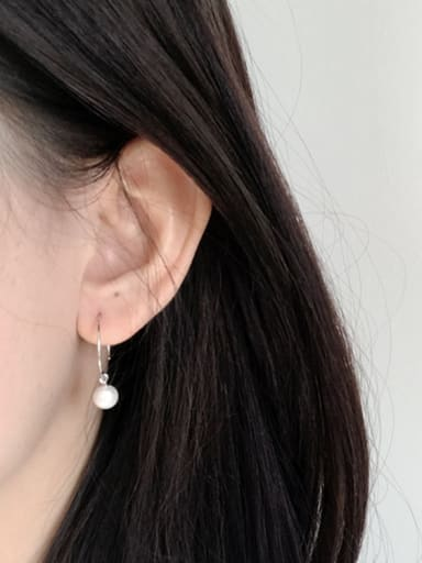 Simple White Artificial Pearl Silver Women Earrings