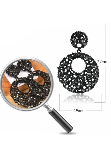 Stainless Steel With Full drill Exaggerated Round Earrings