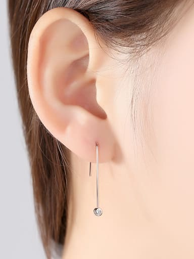 925 Sterling Silver With Rose Gold Plated Simplistic Round Hook Earrings