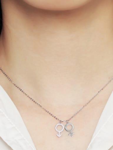 925 Sterling Silver With Cubic Zirconia Simplistic symbol Necklaces