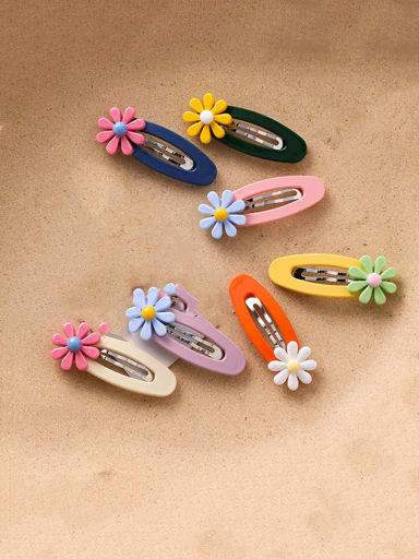 Alloy With Platinum Plated Cute Flower Barrettes & Clips