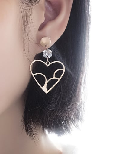Stainless Steel With Rose Gold Plated Classic Heart Stud Earrings