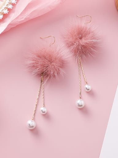 Alloy With Imitation Gold Plated Bohemia Round  Plush Ball Drop Earrings