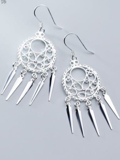 925 Sterling Silver With Platinum Plated Fashion Hollow Beads  Tassel Earrings