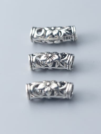 925 Sterling Silver With Antique Silver Plated Hollow Flower Beads