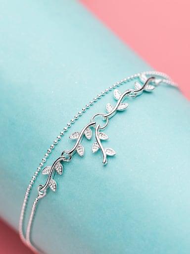 Elegant Leaf Shaped Rhinestones S925 Silver Anklet
