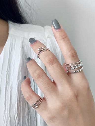 925 Sterling Silver With Platinum Plated Simplistic Geometric Free Size Midi Rings