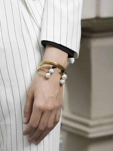 Fashion white turquoise stainless steel bracelet