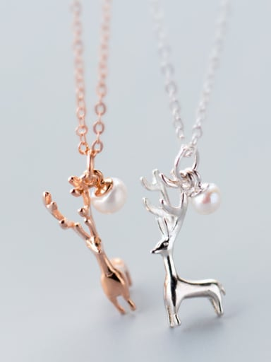S925 silver lovely deer with natural freshwater pearl necklace
