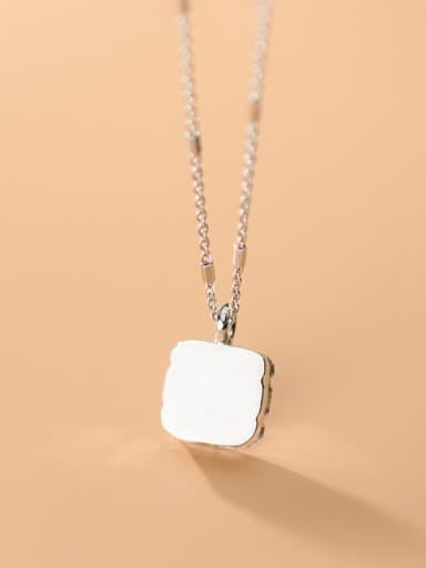 925 Sterling Silver With Platinum Plated  Simplistic  Smooth Square Necklaces