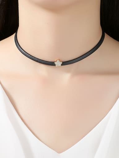 Copper With 3A cubic zirconia Fashion Star Chokers